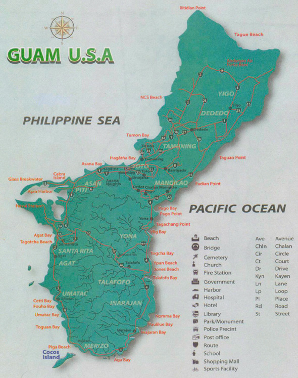 Cocos Island is on the bottom left of this map. We drove down he west coast from Tumon and on the way back drove around the southern tip of Guam to Inarahan and Talofofo and at Yona took the road that heads back to Hagatna.