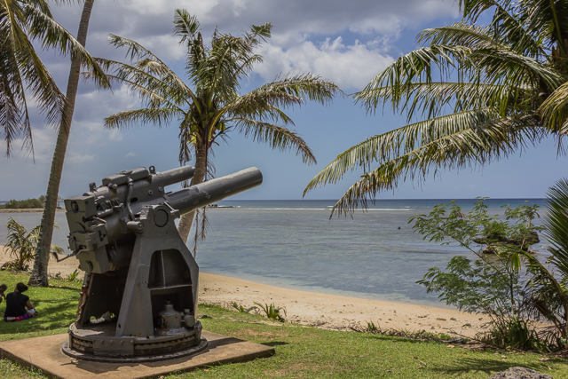 Replica of Japanese gun at Ga'an Point. The original gun was destroyed during the assault on July 21, 1944.