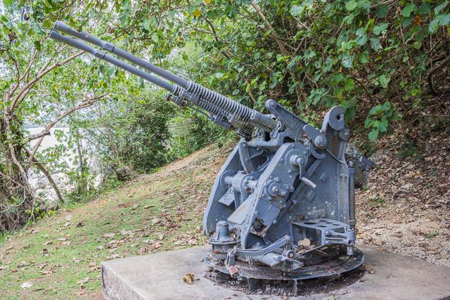 Japanese anti-aircraft gun at Ga'an Point.