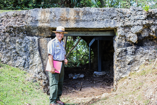 Ranger Rufus at the Ga'an Point blockhouse. Rufus immigrated to the US from Yap. The fastest way to become a US citizen is to sign up for military duty. So Rufus joined the Navy and after his tour of duty he became a citizen and eventually an NPS ranger.