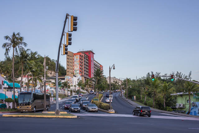 View of San Vitores from the entrance to the Westin Hotel. Gun Beach Road is to the left.