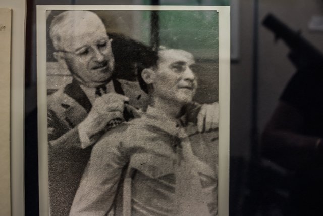 Photo of President Truman placing the Medal of Honor on then Captain Louis Wilson for his exploits in the Battle of Fonte Hill. When Wilson retired in 1966 he had reached the rank of general and was Commandant of the US Marine Corps.
