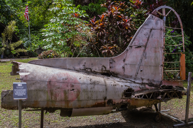 """What's left of a Japanese """"Val"""" dive bomber. The Vals were the standard dive bombers during the early years of the war but by the end of the war they were used mostly for kamikaze attacks."""