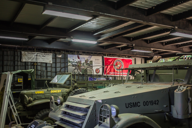 Various military vehicles take up most of the space in the museum.