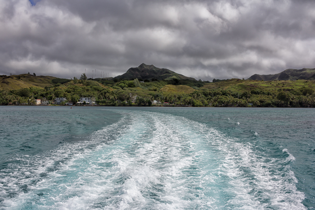 Looking back at Guam two minutes into our 12-minute boat ride.