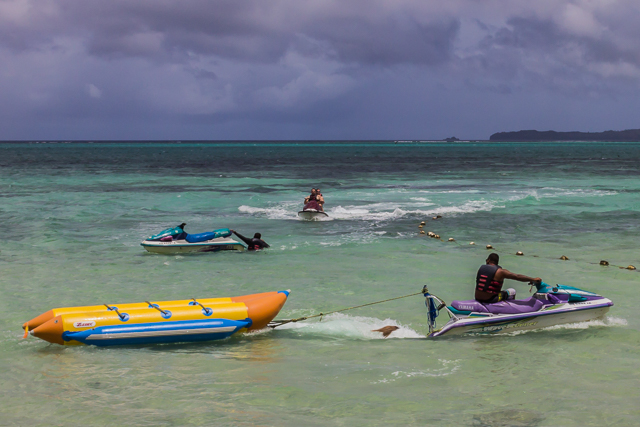 Banana boat in the foreground.
