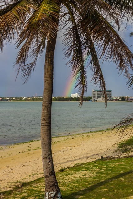 View of rainbow and Agana Bay from the deck of the tuRe' Cafe.