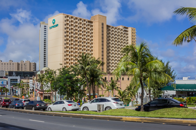 The Outrigger Hotel from across the street on San Vitores Road.
