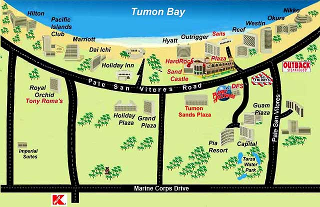 Tumon Bay (from Guam-online.com). This map is a little out-of-date. The Okura is now the Lotte and the Dai Ichi is now the Fiesta Resort.