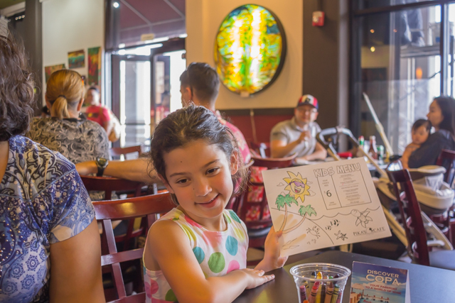 Kids can color their own menu at Pika's Cafe.