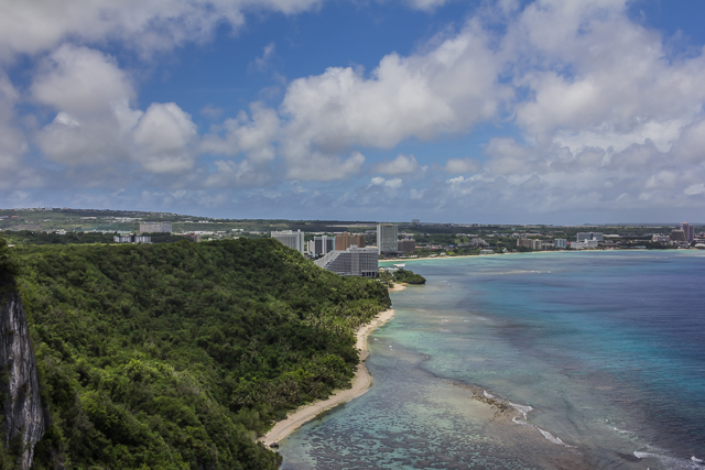 View of Tumon Bay from Two Lovers Point. The closest hotel in the center of the picture is the Nikko. The brown hotel right behind the Nikko is the Outrigger. The hotel to the left of the Nikko is the Westin.