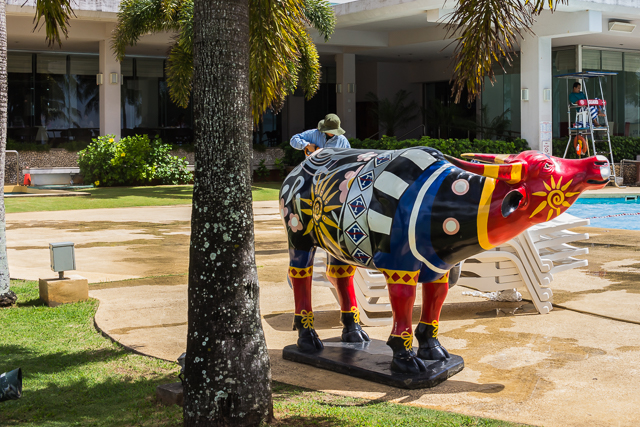 A colorful carabao near the Fiesta's pool.