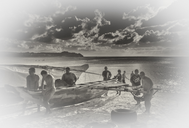 "Outrigger canoe (""proa"" in Chamorro) on Tumon beach."