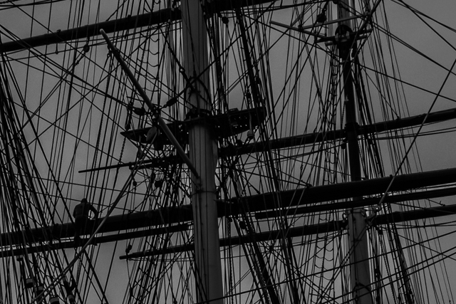 Closeup of the Cutty Sark's masts and rigging.
