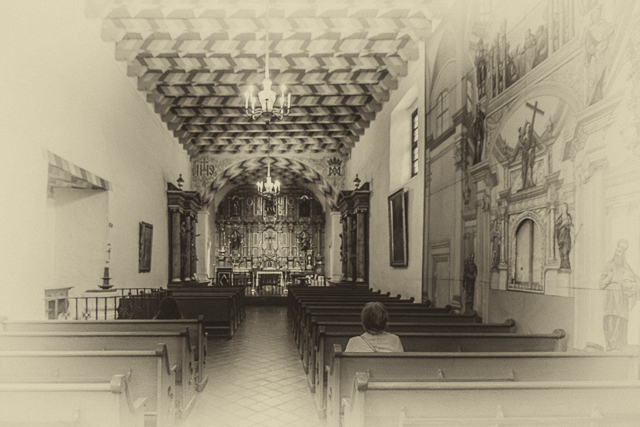 The interior of Mission Dolores.
