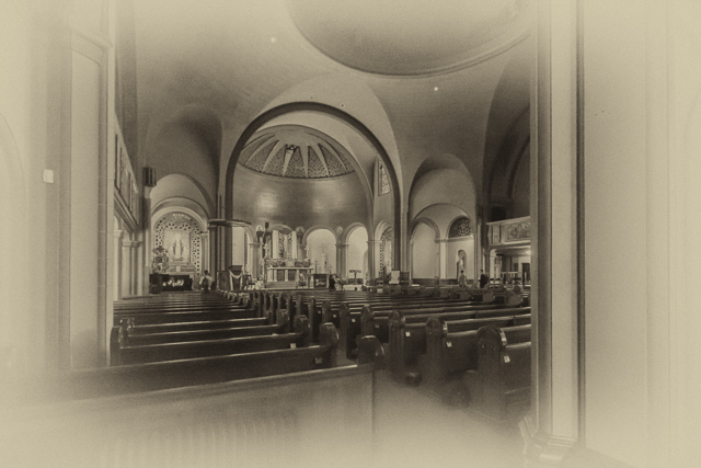 The interior of Mission Dolores Basilica.