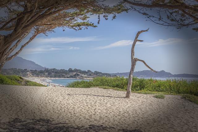 Carmel Beach from the tip of Ocean Avenue -- looking south toward Point Lobos.