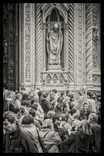 Palm Sunday procession near the entrance to the Duomo.