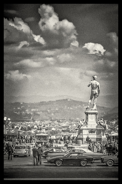 The copy of Michelangelo's David looking over Florence from the top of xx.