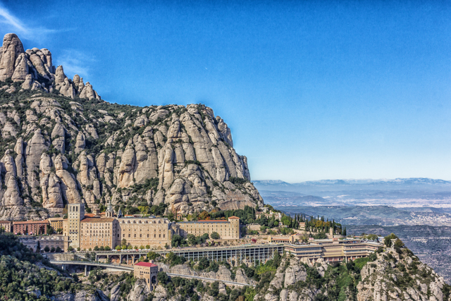 The Monastery at Montserrat from St Michael's Cross.