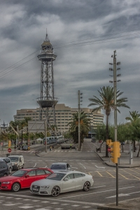 One of the xx de Montjuic towers whose cable cars connect Barcelona's waterfront to the top of Montjuic -- built for the 1992 Olympics.