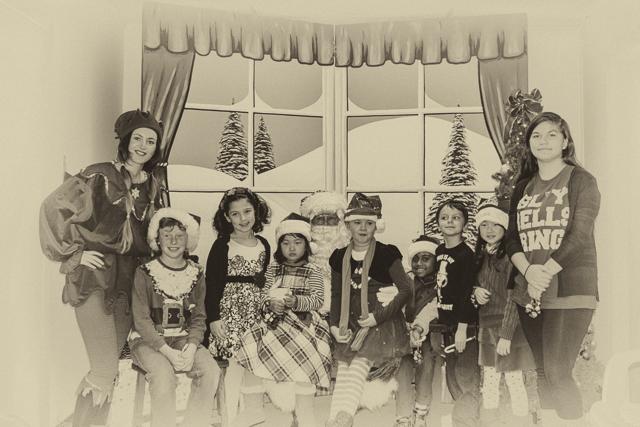 The children's choir and Santa.