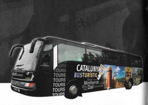 One of Catalunya Busturistic's famous black buses (photo from the Catalunya Busturistic Tours from Barcelona brochure).