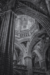 Interior view of Barcelona Cathedral, officially known as Catedral de la Santa Creu i Santa Eulalia. This will be my entry for Leanne Cole's Monochrome Madness Challenge this week.
