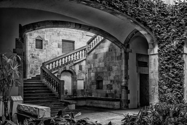 The Palau del LLoctinent courtyard in Barcelona's Gothic Quarter (Barri Gotic).