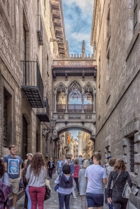 Avinguda del Portal de l'Angel runs into Carrer del Bisbe where you can walk under Barcelona's version of Venice's Bridge of Sighs -- built in the 19th century.