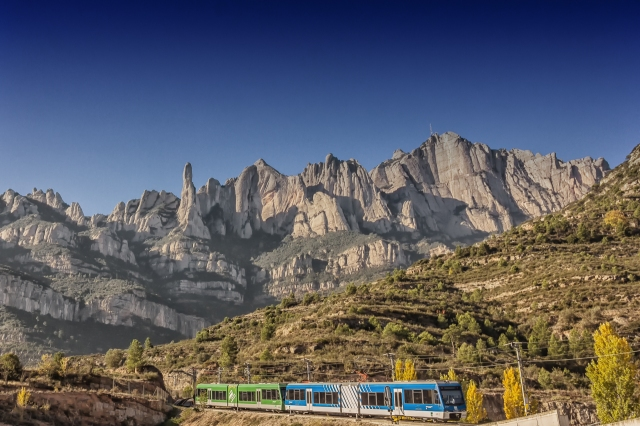 View of Montserrat from the rack train station.