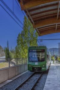 A rack train at the Cremalerra de Montserrat station.