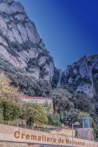 The Funicular de Sant Joan station is just above the Cremallera de Montserrat rack train station at the monastery.