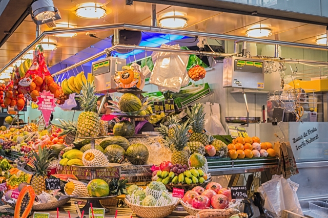 All kinds of fruits on display at La Concepcio Market,