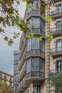 The windows of Casa Jaume Forn on Carrer de Valencia. This building was completed in 1909.
