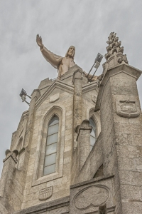 View of Christ statue from base of central steeple.