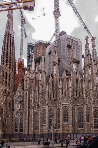La Sagrada Familia from the Metro exit across the street.
