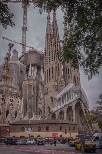 The Passion Facade from across the street. The Basilica has three facades. Only the Nativity facade was cmpleted during Gaudi's lifetime. The Passion facade looks like it is about 90% complete but the Glory facade is no way near completion.