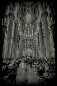 La Sagrada Familia in monochrome.