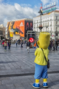 Homer Simpson greets visitors to Puerta del Sol.
