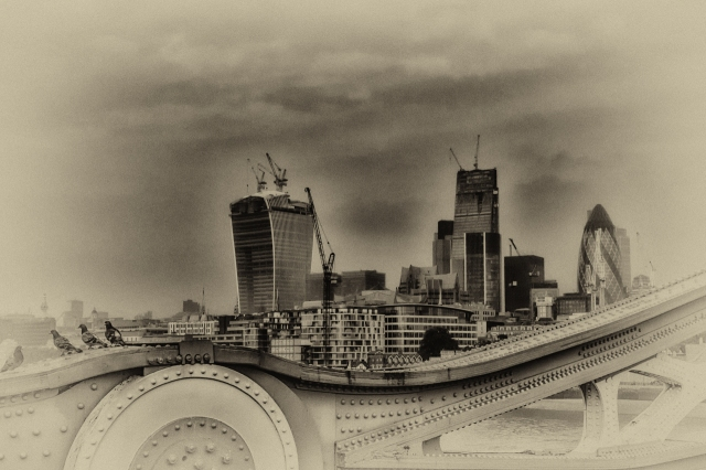 The City of London from the Tower Bridge. This is my entry for this week's Monochrome Madness Challenge.