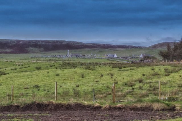 The Kilmuir Cemetery is not far from the Museum of Island Life. The tall monument in the center of the cemetery marks the grave of Flora MacDonald.